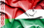 Vlající vlajka Maďarska a Bělorusko — Stock fotografie