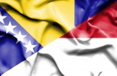 Развевающийся флаг Индонезии и Боснии и Герцеговины — Стоковое фото