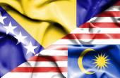 Malezya ve Bosna-Hersek bayrağı sallayarak — Stok fotoğraf