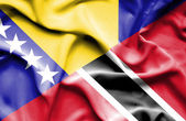 Waving flag of Trinidad and Tobago and Bosnia and Herzegovina — Fotografia Stock