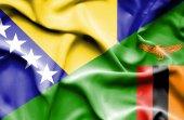 Waving flag of Zimbabwe and Bosnia and Herzegovina — Stock Photo