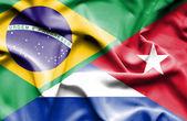 Waving flag of Cuba and Brazil — Стоковое фото