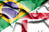 Waving flag of England and Brazil — Foto de Stock