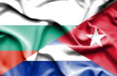 Waving flag of Cuba and Bulgaria — Stock Photo