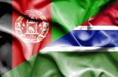 Mávání vlajkou Gambie a Afghánistánu — Stock fotografie