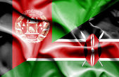 Waving flag of Kenya and Afghanistan — Stock Photo