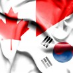 Waving flag of South Korea and Canada — Stock Photo #74666455