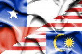 Waving flag of Malaysia and Chile — Stock Photo