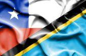 Waving flag of Tanzania and Chile — Zdjęcie stockowe