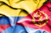 Waving flag of Eritrea and Columbia — Stock Photo