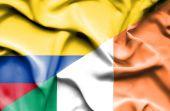 Waving flag of Ireland and Columbia — Stock Photo