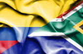 Waving flag of South Africa and Columbia — Stock Photo