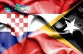 Waving flag of East Timor and Croatia — Stock Photo