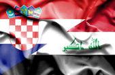 Wapperende vlag van Irak en Kroatië — Stockfoto