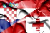 Waving flag of Tonga and Croatia — Stock Photo