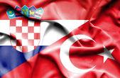 Sventolando la bandiera della Turchia e Croazia — Foto Stock