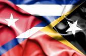 東ティモールとキューバの旗を振っています。 — ストック写真