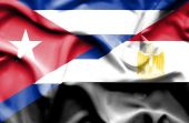 Waving flag of Egypt and Cuba — Стоковое фото