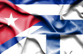 Waving flag of Finland and Cuba — Stock Photo