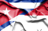 Waving flag of Indonesia and Cuba — Foto Stock