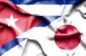 Waving flag of Japan and Cuba — Стоковое фото