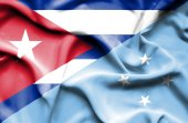 Waving flag of Micronesia and Cuba — Stock Photo
