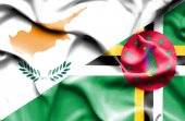 Waving flag of Dominica and Cyprus — Stock Photo