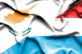 Waving flag of Luxembourg and Cyprus — Stock Photo