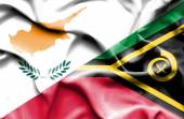 Waving flag of Vanuatu and Cyprus — Stock Photo
