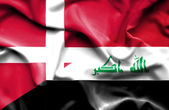 Waving flag of Iraq and Denmark — Foto Stock