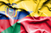 Waving flag of Benin and Ecuador — Stock Photo