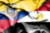 Waving flag of Egypt and Ecuador — Foto de Stock