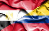 Waving flag of Columbia and Egypt — Stock Photo