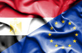 Waving flag of European Union and Egypt — Stock Photo