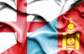 Waving flag of Mongolia and England — Stock Photo