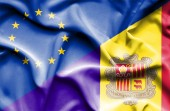 Waving flag of Andorra and EU — Stock Photo