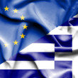 Waving flag of Greece and EU — Stock Photo #74911519