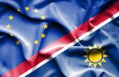 Vlající vlajka Namibie a eu — Stock fotografie