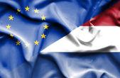 Waving flag of Netherlands and EU — Stock Photo