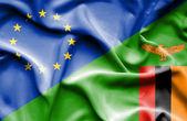 Waving flag of Zimbabwe and EU — Stock Photo
