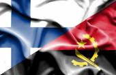Waving flag of Angola and Finland — Stock Photo