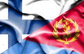 Waving flag of Eritrea and Finland — Stock Photo