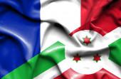 布隆迪和法国那飘扬的旗帜 — 图库照片