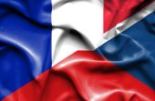 Waving flag of Czech Republic and France — Stock Photo