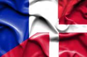 Waving flag of Denmark and France — Foto de Stock