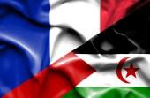 西撒哈拉和法国那飘扬的旗帜 — 图库照片