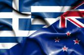 Waving flag of New Zealand and Greece — Stock Photo