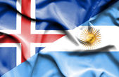 Waving flag of Argentina and Iceland — Stock Photo