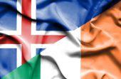 Waving flag of Ireland and Iceland — Stock Photo