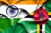 Agitant le drapeau de la Dominique et Inde — Photo